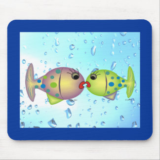 """Whisical Fish Art Gifts """"In Love"""" by gail gabel Mouse Pad"""