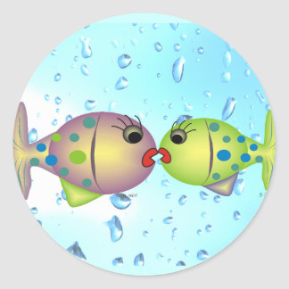 "Whisical Fish Art Gifts ""In Love"" by gail gabel Classic Round Sticker"