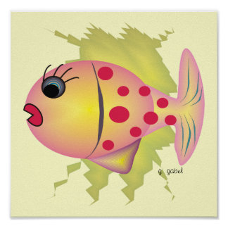 Whisical Fish Poster Art by Gail Gabel