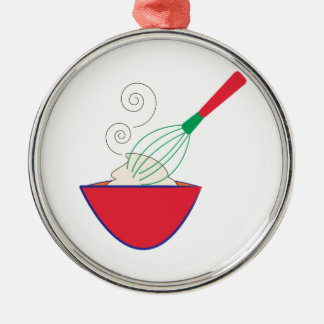 Whisk and Bowl Round Metal Christmas Ornament