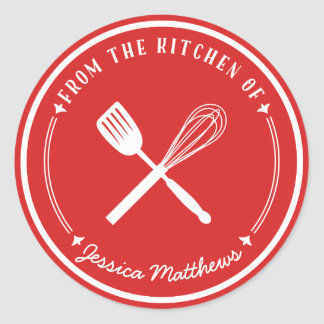 Whisk Spatula Personalized Red Kitchen Stickers