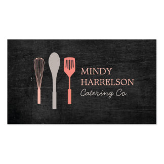 WHISK SPOON SPATULA on Black Wood Bakery, Catering Double-Sided Standard Business Cards (Pack Of 100)