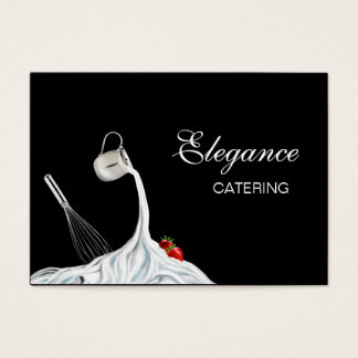 Whisk, Strawberries and Whipped Cream Food Art F-H Business Card