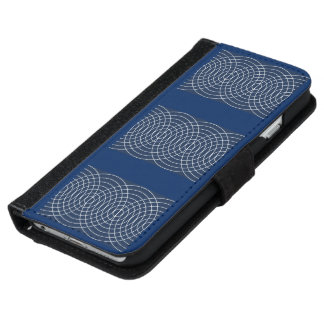 Whiskers Abstract Design in Blue Wallet Phone Case For iPhone 6/6s
