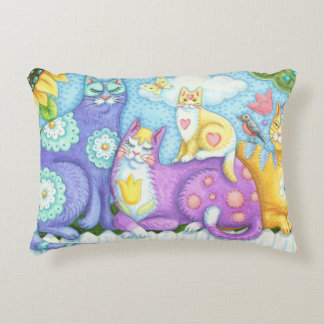 Whiskers And Purrs Folk Art CAT ACCENT PILLOW