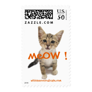 whiskers' meOW kitten postage stamp