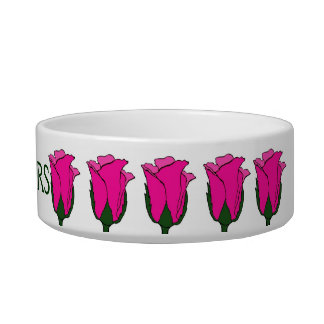 Whiskers Pink Rose Cat Bowl