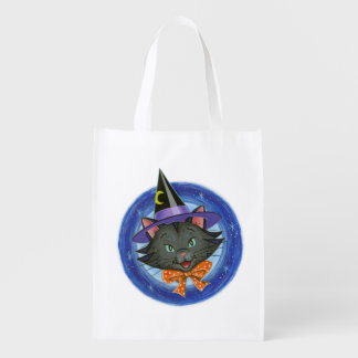Whiskers the Halloween Cat: Reusable Grocery Bags
