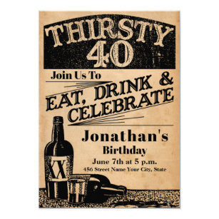 Whiskey 40th Birthday Invitation