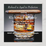 """Whiskey and Cigar Birthday Party Invitation<br><div class=""""desc"""">Elegant gentleman's whiskey and cigar man's any number birthday party invitation. This classy gentleman's whiskey and cigar birthday party invitation is easily customized for your event by adding your event details,  font style,  font size & color,  and wording.</div>"""