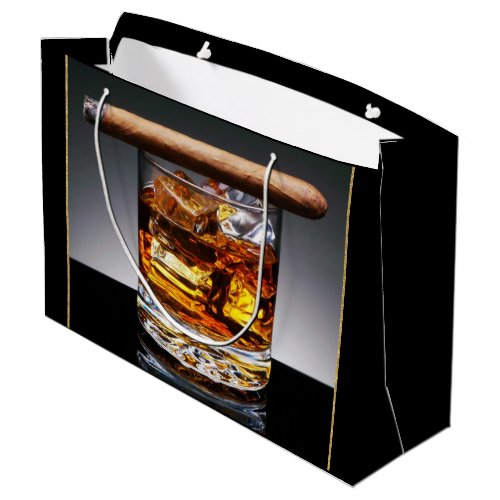 Whiskey and Cigar Mans Black Gold Classy Large Gift Bag
