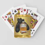 """Whiskey and Cigar Poker Card Game Playing Cards<br><div class=""""desc"""">Mens custom playing cards with a pair of dress shoes,  whiskey bottle and cigar on a gold background. You can remove the gold bokeh background and add the color of you choice. You can also add the text of you choice to the bottle label,  or delete the text.</div>"""