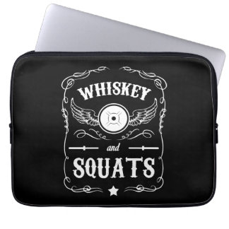 """Whiskey and Squats - """"Weight Lifting"""" Motivational Laptop Sleeves"""