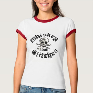 Whiskey and Stitches Ladies ringer tee