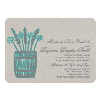 Whiskey Barrel of Wheat Rustic Aqua Wedding Invite