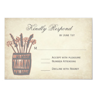Whiskey Barrel of Wheat Rustic Wedding RSVP Cards