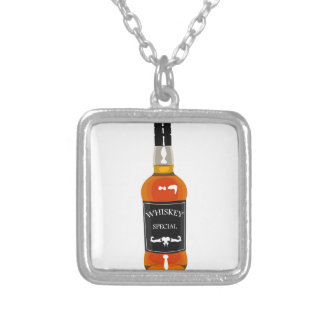 Whiskey Bottle Drawing Isolated On White Backgroun Silver Plated Necklace