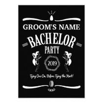Whiskey Bottle Theme Bachelor Party Invitation