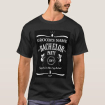 Whiskey Bottle Theme Bachelor Party T-Shirt