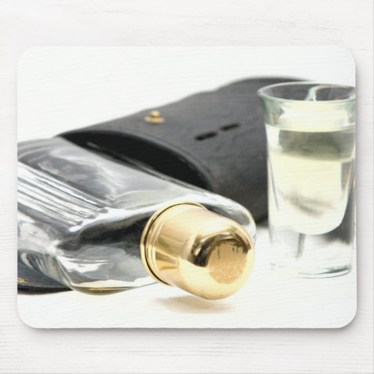 Whiskey Flask and Shot Glasses Mouse Pad