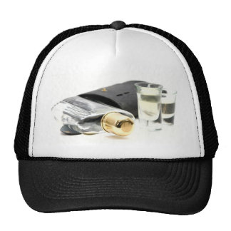 Whiskey Flask and Shot Glasses Trucker Hat