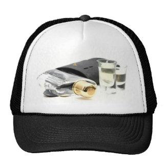 Whiskey Flask and Shot Glasses Trucker Hat