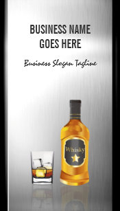 Liquor business cards zazzle whiskey liquor store brushed stainless steel metal business card reheart Images