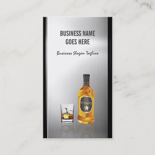 Whiskey liquor store brushed stainless steel metal business card whiskey liquor store brushed stainless steel metal business card colourmoves
