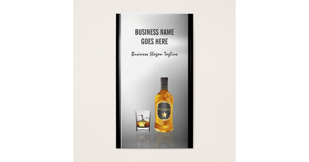 Whiskey Liquor Store Brushed Stainless Steel Metal Business Card ...