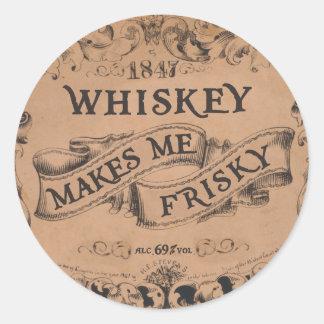 Whiskey makes me frisky classic round sticker