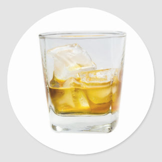 Whiskey on the rocks classic round sticker