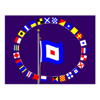 Whiskey Require Medical Assistance Signal Flag Post Cards