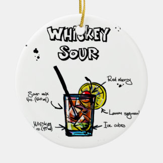 Whiskey Sour Cocktail  Recipe Ceramic Ornament