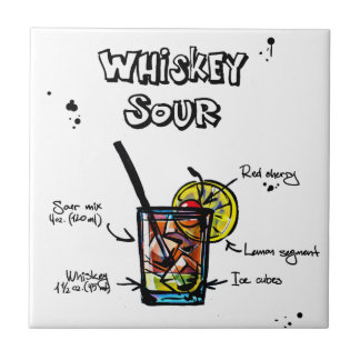 Whiskey Sour Cocktail  Recipe Ceramic Tile