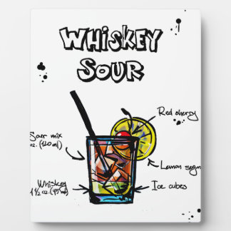 Whiskey Sour Cocktail  Recipe Plaque