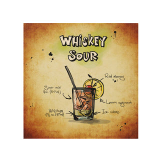 Whiskey Sour Cocktail Recipe Wood Wall Art