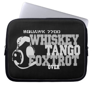 Whiskey Tango Foxtrot - Aviation Humor Laptop Sleeves
