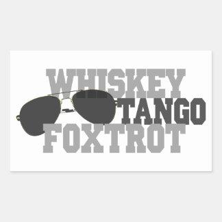 Whiskey Tango Foxtrot - Aviation sun glasses Rectangular Sticker