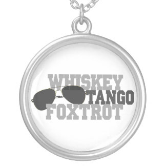 Whiskey Tango Foxtrot - Aviation sun glasses Silver Plated Necklace