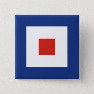 Whiskey (W) Signal Flag Pinback Button