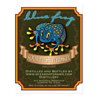 Whisky azul de la rana tarjetas postales