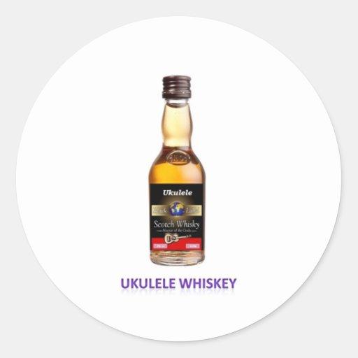 Whisky del Ukulele Pegatinas Redondas