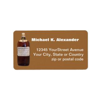 Whisky escocés de la botella del vintage etiquetas de dirección