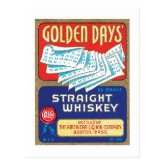 Whisky recto de los días de oro tarjeta postal
