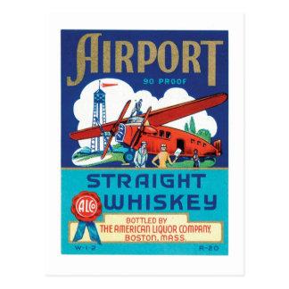 Whisky recto del aeropuerto tarjeta postal