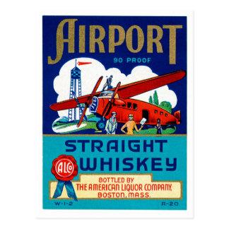 Whisky recto del aeropuerto tarjetas postales