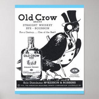 Whisky recto del cuervo viejo del vintage, Rye, Póster