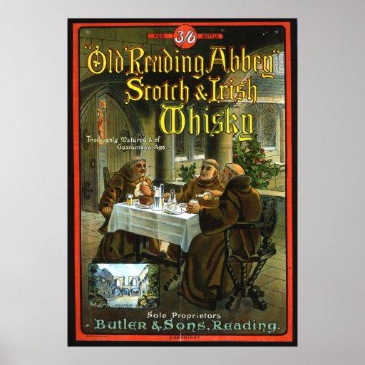 Whisky viejo de la abadía de la lectura póster