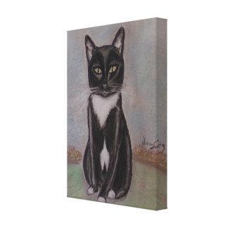"""Whisper"" A Portrait of a Tuxedo Cat Canvas Print"