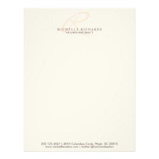 Whisper Pink Elegant Minimalist Monogram Letterhead